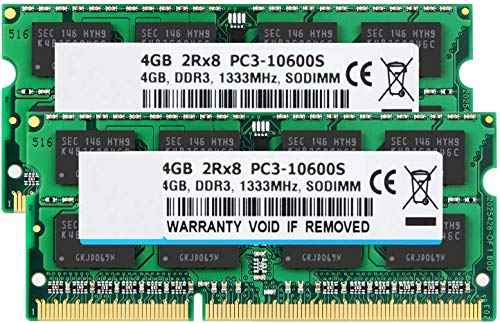 BPX 8 GB (2 x 4 GB) 2RX8 PC3-10600S DDR3 1333MHz SODIMM CL9 204 Pin 1.5v Notebook Non-ECC, ungepufferte Laptop-Speicher RAM kompatibel mit Intel AMD und Mac-Computer