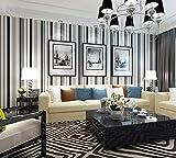 3D Papier Peint Rayures noires et blanches Non Tissé pour Décoration Mur Maison Chambre Bureau Salon