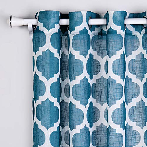 SIMPVALE 2 Paneles Cortinas con Ojales de Lino - Elegante Diseño geom