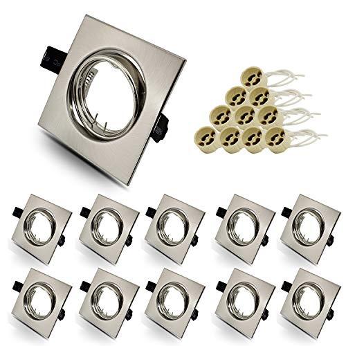 10er Set eckig Einbauleuchtenrahmen,Einbaustrahler Rahmen Einbauspots Einbauleuchten Edelstahl Optik gebürstet inkl. GU10 Fassung für LED oder Halogen Leuchtmittel,30° Schwenkbar