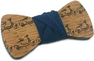 GIGETTO Papillon in legno Bambino Serie Pattern Nodo stoffa blu
