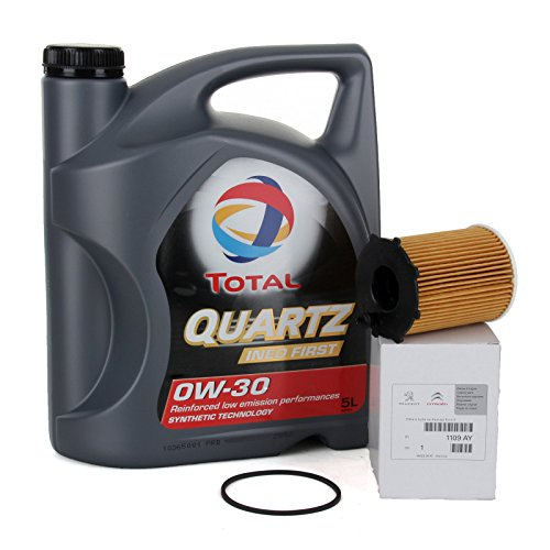 Originele Duo motorolie Total Quartz Ineo First 0W-30, 5 liter oliefilter PSA Original 1109AY motoren 1.4/ 1.6HDi
