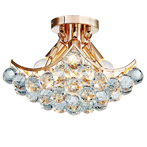 Saint Mossi Moderne kroonluchter verlichting inbouw LED plafondlamp hanglamp voor eetkamer badkamer slaapkamer woonkamer glazen scherm chroom diameter 42 cm x hoogte 13 cm