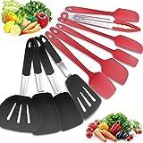 jmege set di utensili da cucina in silicone 10 pezzi set di utensili da cucina resistenti al calore set di spatole in silicone per crema raschietto con giradischi, spatola e pinze per alimenti