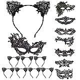 LOOPES 8pcs Mascara Halloween 8pcs Diadema Orejas Gato Máscaras Venecianas Antifaz Negro Catrina Catwoman Hombre Mujer Fiesta Elegante Encaje Mascarada Masquerade Carnival Baile Disfraces Cosplay.