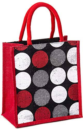 H&B Jute bag for lunch box –bag for tiffin, bags for men, bags for women, bags for kids, jute bags for office, lunch bag, bags for girls – ZIP, BOTTLE HOLDER – Circle (1 Bag - Black)