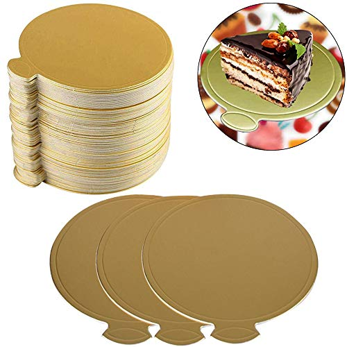 Hpamba Cake Board Cakeboard Kuchen Torten-Unterlage Pappe Gold Mousse Kuchen Bretter Tortenplatten Karton Rund Tortenplatte Beschichtet Tortenunterlage Mini Einweg Kuchen Board (100 Stück, Gold)