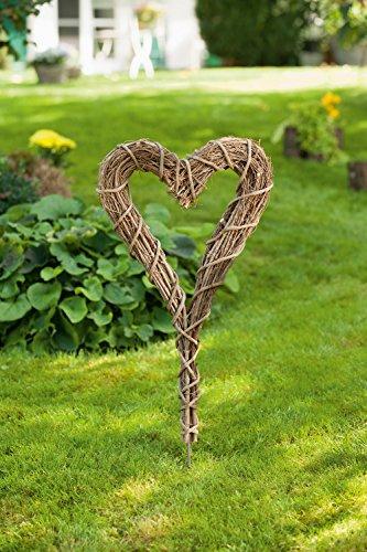 Dekoleidenschaft Gartenstecker Herz aus Zweigen, rustikal, Blumenstecker, Beetstecker, Gartendeko