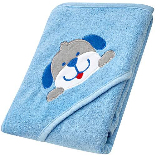 MIAS toalla con capucha para bebes, microfibra, azul claro, parche bordado en 3D, para el piel suave después del baño