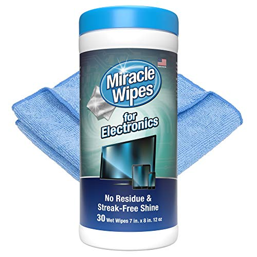 MiracleWipes for Electronics Cleaning - Screen Wipes Designed for TV, Phones, Monitors and More - (30 Count)
