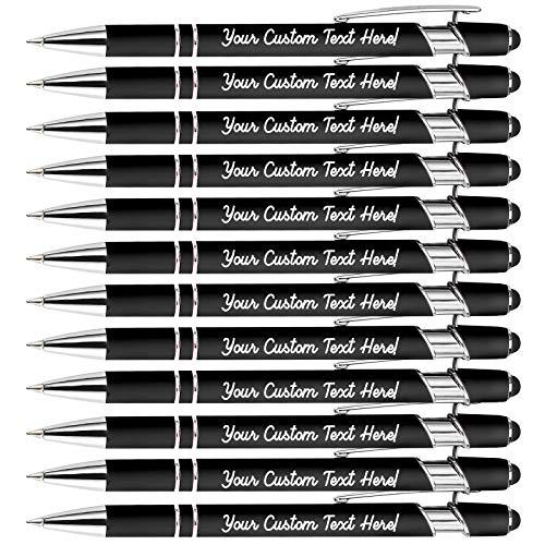 Bolígrafos Personalizados Grabados para Regalo con Nombre,Bolígrafos Personalizado para Mujer Hombres Empresa Comunión,Bolígrafos con Mensaje Nombre Grabado Personalizado,Tinta Negra,12 Surtidos