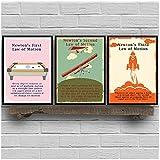 NRRTBWDHL Newtons Bewegungsgesetze Vintage Poster und Drucke Physik Wandkunst Leinwand Gemälde Bilder Büro Wanddekor Physiker Gifts-50x70cm x3pcsNo Frame