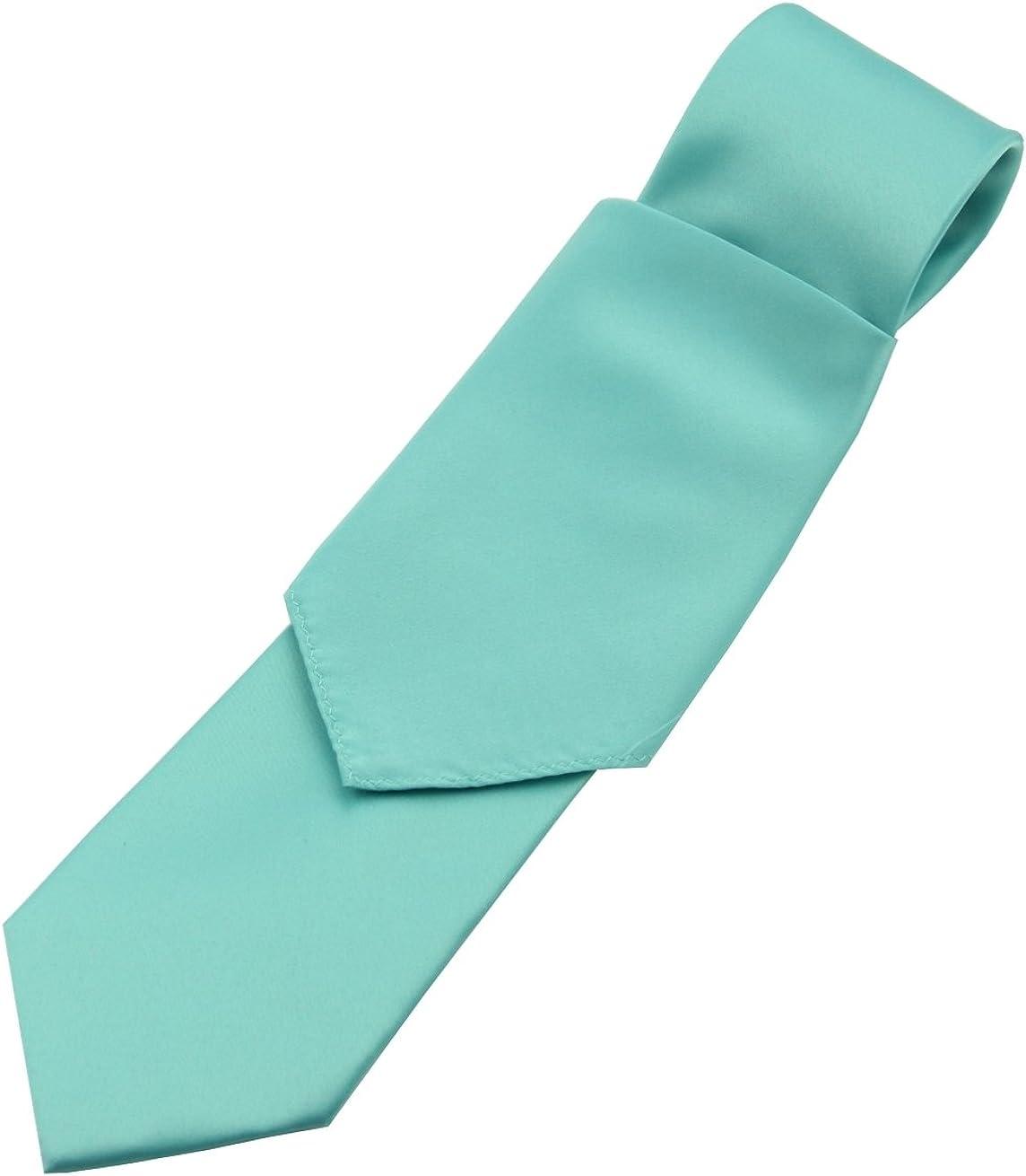 Solid Satin Men's Necktie and Pocket Square set in Teal