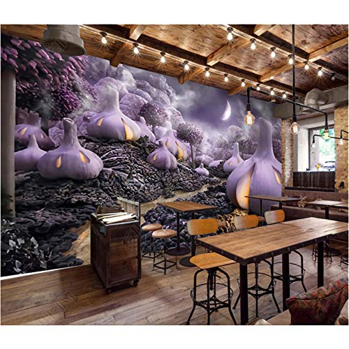 3D fotobehang in paars fruitcakevorm voor restaurant, fruit, shop, keuken, 3D fotobehang, wandafbeelding, 3D-wand 400 x 280 cm