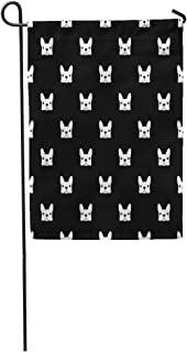 Semtomn Garden Flag Puppy French Bulldog Pattern Frenchie Animal Outline Face Pet Drawing Home Yard House Decor Barnner Outdoor Stand 12x18 Inches Flag
