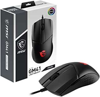 MSI Clutch GM41 Lightweight Gaming Mouse, 16,000 DPI, 60M Omron Switches, RGB Mystic Light, 6 Programmable Buttons, PC/Mac