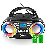 KLIM Boombox B3 - Reproductor de CD portátil con Radio FM y batería Recargable | Bluetooth, MP3, AUX, Radio FM, CD, USB | Radio CD portátil con ecualización Digital | Nuevo 2021