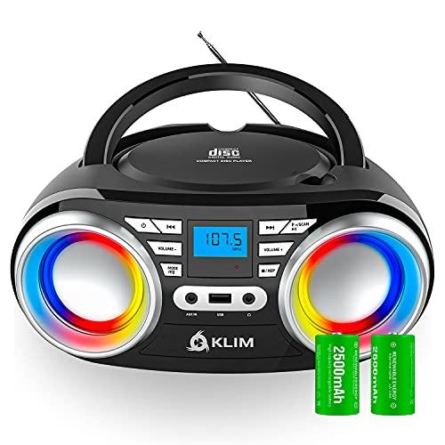 KLIM Boombox B3 Poste Radio CD Portable + Batterie Rechargeable, Bluetooth, MP3, AUX, USB | Poste CD Compact avec Haut-parleurs Super Bass Neodynium [NOUVEAUTÉ 2021]