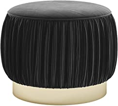 ZXPzZ Sofa Stool Fabric Wooden Round Stool Simple Creative Sofa Change Shoes Stool Makeup Chair (Color : Black)