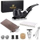 Quercia tabacco pipa, di legno pipa con Pipa Supporto, Pipe alesatore, 3 in 1 Reamers Tamper e Altri accessori, con un Borsa di velluto e Pacco regalo