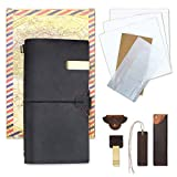 SINOBAND Refillable Leather Journal Travelers Notebook for Men & Women - 8.5 x 4.5 inch Handmade Travel Diary with 4 Inserts + Pen Holder and Leather pencil case, Perfect for Writing, Gifts, Travelers