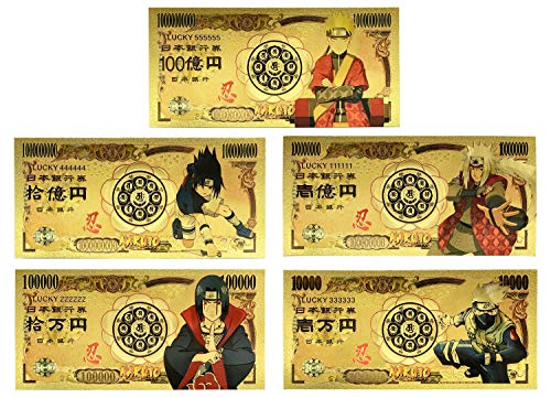 YJacuing Anime Naruto Gold Coated Banknote, Limited Edition Collectible Bill Bookmark (5 PCS, 20th Anniversary)