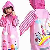 Chubasqueros DANDAN Impermeables, Impermeables para Niños con Gorras, Impermeables De Protección Ambiental para Niños Y Niñas con Mochilas Escolares, Tres Colores Disponibles (Color : Pink, Size : L)