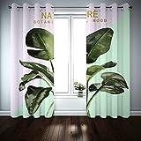 Kihomedy Glam - Cortinas para dormitorio, diseño de hojas tropicales de bosque tropical, color verde para niños, con ojales, tratamientos de ventana, 2014 x 250 cm, 2 paneles