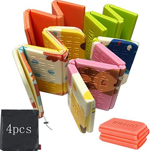 Tangger 4 PCS XPE Sitzkissen Outdoor Faltbar Kinder Grün und Orange,Thermo Sitzkissen Wasserdicht Outdoor Camping Garten Knieschoner mit 4 Aufbewahrungsbeutel