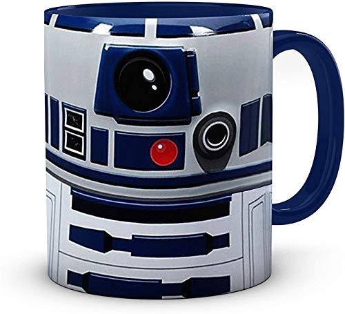 Herren Starwars Kaffeetasse – Erwachsene R2D2 weiße Keramik 325 ml innen blau Teetasse Geschenke für Frauen