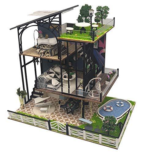 Diy Puppenhaus Bausatz Miniatur Kit Miniatur Villa, Handgemachtes Zusammengebautes Modellhaus, Handgemachtes Puppenhaus, Spielzeug Geburtstagsgeschenke