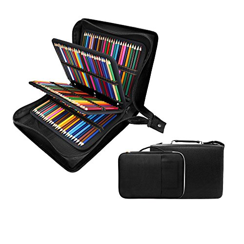 200 + 16 Slots Pencil Case & Extra Pencil Sleeve Holder - Bundle for Prismacolor Watercolor Pencils, Crayola Colored Pencils, Marco Pens and Cosmetic Brush by YOUSHARES (216 Slots Black)