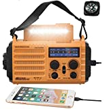 5-Way Powered Solar Hand Crank NOAA Weather Alert Radio,AM/FM Shortwave Survival Portable Outdoor Emergency Radio,2500mAh Recharegable Battery Cellphone USB Charger,LED Camping Flashlight,SOS&Compass