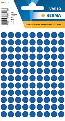 HERMA 1833 Vielzweck-Etiketten / Farbpunkte rund (Ø 8 mm, 5 Blatt, Papier, matt) selbstklebend, permanent haftende Markierungspunkte zur Handbeschriftung, 540 Klebepunkte, dunkelblau