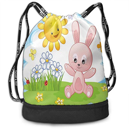 NoBrand Drawstring Backpack String Bag Casual, D2583 Cute Bunny Rabbit In Flower Garden With Happy Sun Lady Bugs And Butterfly Print
