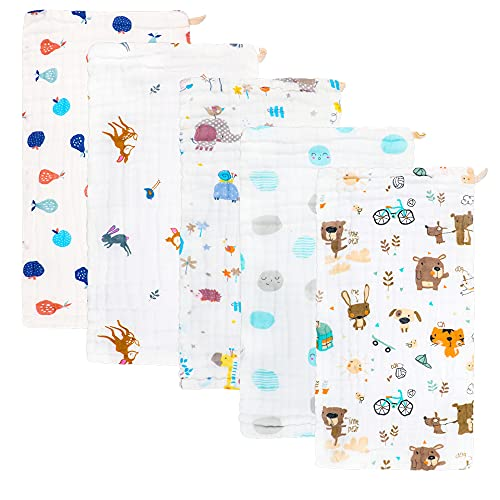 Muslin Burp Cloths Baby Burp Clothes - Baby Burp Cloth for Boy Girls Thicken Muslin Burp Rags Bibs 6 Layers Large 20''x10'' 100% Cotton Hand Machine Washable Soft Absorbent by norinori (5 Pack)