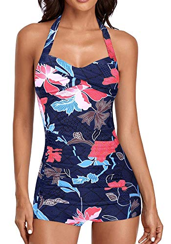 ebuddy Elegant Inspired Boy-Leg One Piece Ruched Monokinis Swimsuit,Flowered-L