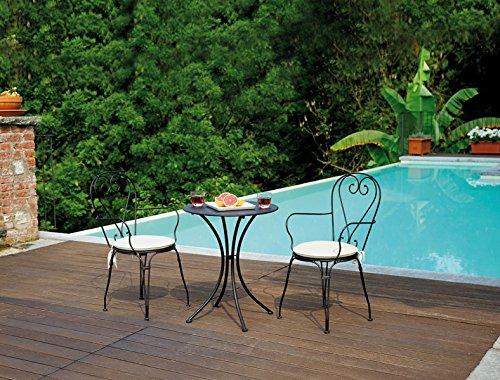 PEGANE Ensemble de Jardin Table Rond + 2 chaises en Fer forgé Coloris Noir H 72 x L 60 x Ø 60 cm - A Usage Professionnel