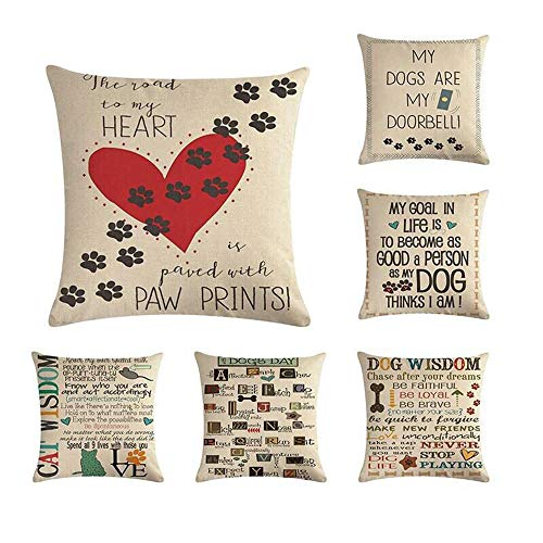 Ydq Set of 6 Cotton Linen Cushion Covers 18X18 Inch/ 16X16inch Pillow Covers Simple Printing Square Pillowcase Home Decor for Sofa Bedroom Car,A,40 * 40CM
