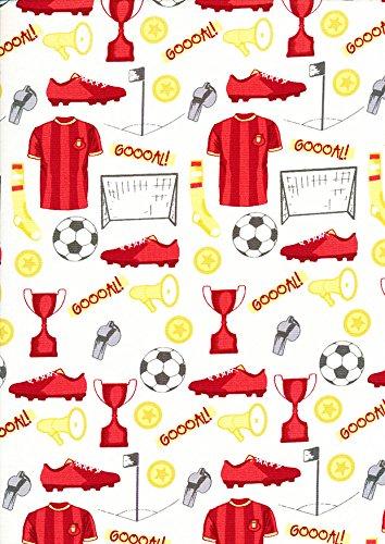 Red Goal Main - Cojín de tela de gasa para cama de fútbol, diseño de porcelana de fútbol, de 1/2 m de ancho, de 100% algodón, apretado