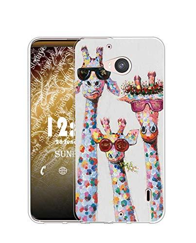Sunrive Cover Compatibile con Nokia Lumia 930, Custodia Case in Molle Trasparente Silicone Morbida Flessibile AntiGraffio Protettiva Back custodie(Q Cervo)