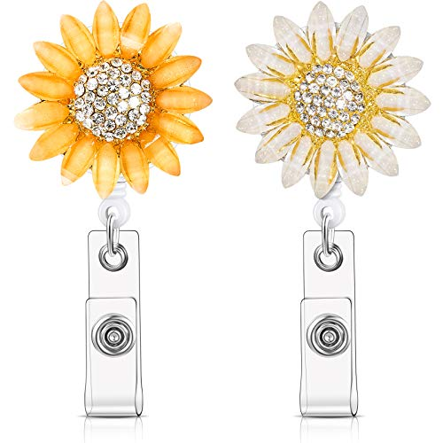 2 Pieces Crystal Rhinestone Sunflower Badge Reel Retractable Badge Clip Name Tag Holder Reel with Alligator Clip Nylon Cord ID Badge Reel On Card Holders for Nurse Teacher Student (Orange, White)