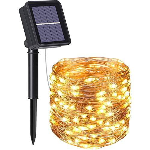 flintronic® Guirnalda de Luces Solares, 1PCS/100LED Luces Jardín (8 Modos)10M/33pies Auto Encendido/Apagado...