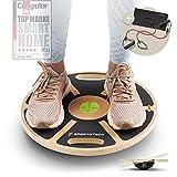 Sportstech Premium Balance Board aus Holz & integrierter Gleichgewichtswaage | Fitnessgerät für Zuhause | Gleichgewichtstrainer & Wackelbrett für Ganzköpertraining | Plank Board mit Power-Rope | BB100