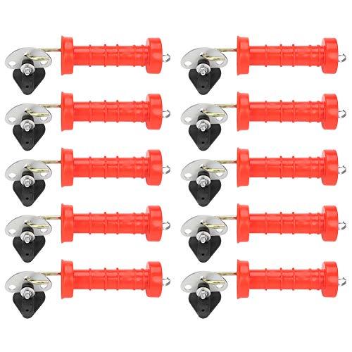 GOTOTOP 10 Stks Elektrische Hek Geïsoleerde Lente Poort Handvatten Met 10 Stks Ankerplaten Isolator