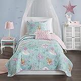 Mi Zone Kids Cozy Quilt Set, Casual Modern Vibrant Fun Design, Lightweight All Season Kids Bedding, Decorative Pillow, Girls Bedroom Décor, Twin, Darya Mystical Mermaid Fantasy Aqua/Pink