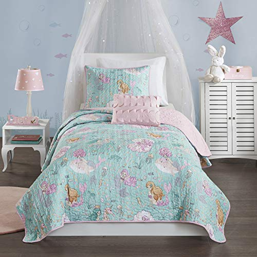 Mi Zone Kids Cozy Quilt Set, Casual Modern Vibrant Fun Design, Lightweight All Season Kids Bedding, Decorative Pillow, Girls Bedroom Décor, Full/Queen, Darya Mystical Mermaid Fantasy Aqua/Pink 4 Piece