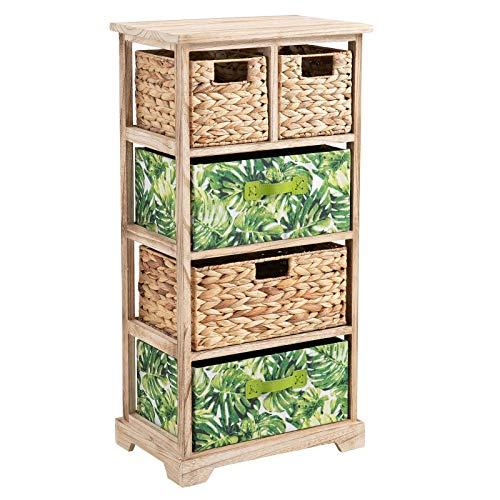 CARO-Möbel Kommode ADELFIA Urban Jungle Standregal Aufbewahrungsregal mit 2 Boxen und 3 Körben Natur/grün