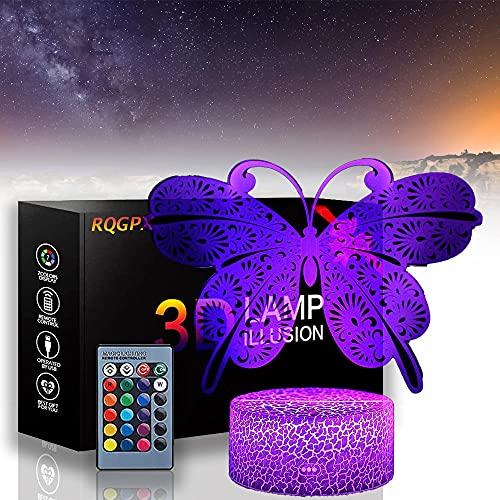 Luz de noche de mariposa para niños 3D lámpara de ilusión óptica 16 colores regulable USB Powered Control táctil con base de grieta+control remoto para niños niñas niños regalos