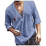 Mens Long Sleeve Feather Print Henley V-Neck T Shirts Cotton Linen Beach Yoga Loose Fit Tops Baggy Casual Hippie Blouse